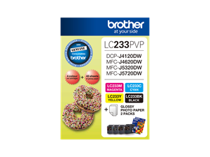 Brother LC-233PVP Ink Value Pack plus Photo Paper 550 Pages