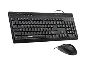 Rapoo NX1710 Wired Keyboard Mouse Optical Combo - Black