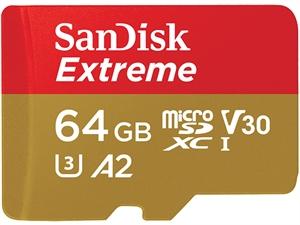 Sandisk Extreme 64GB microSDXC UHS-1 V30 U3 UHS-I Card