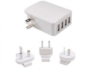 AeroCool International Travel 4 USB Fast Charger With Smart IC/ USA / UK /EU/ AU - White