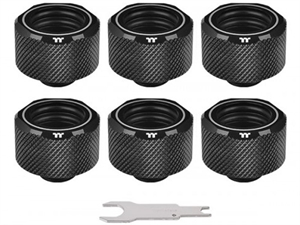 Thermaltake Pacific C-PRO G1/4 PETG Tube 16mm OD Compression - Black (6-Pack Fittings)
